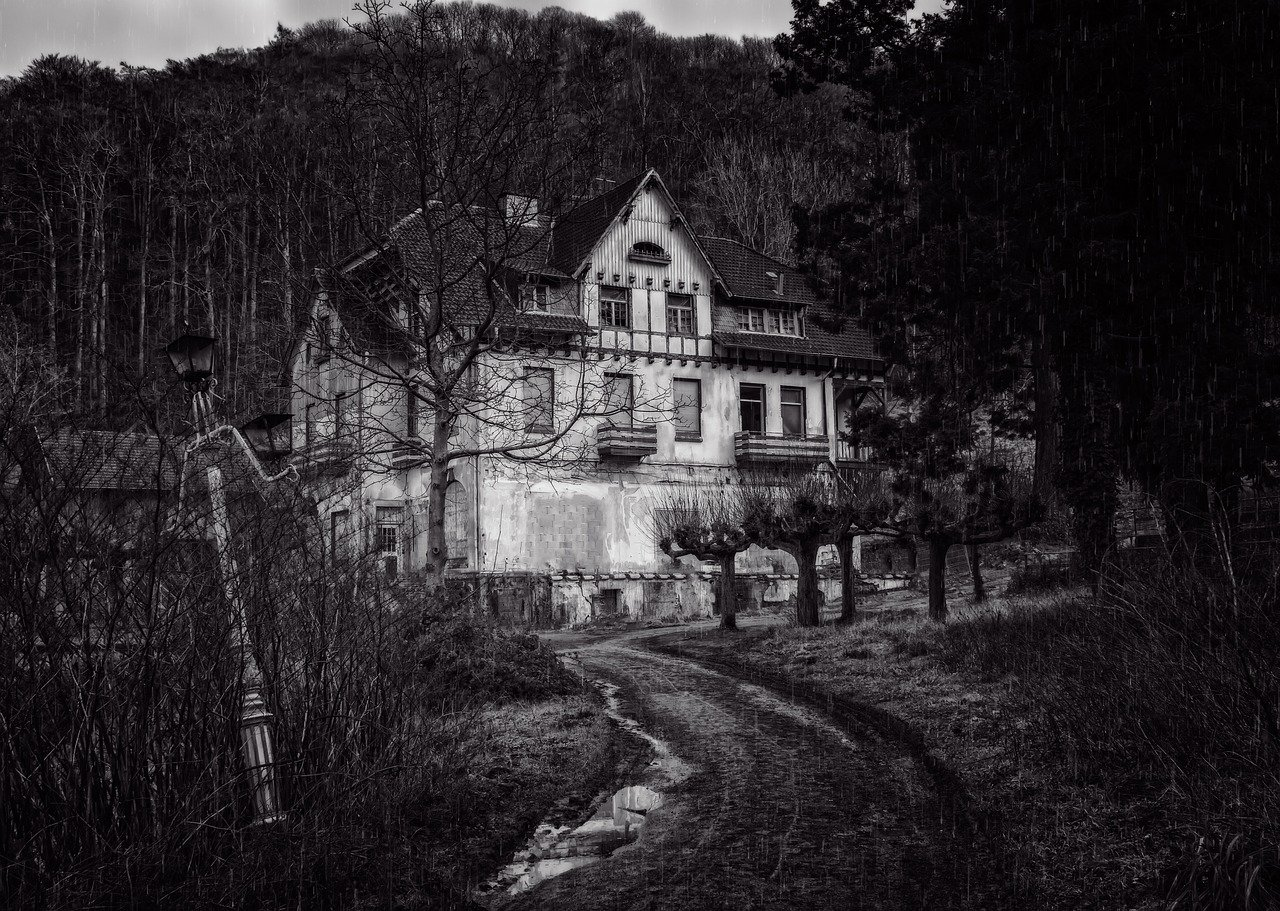 house, night, lost places